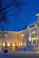 Moscou, Universidade, neve, árvores, noite, luzes, Rússia