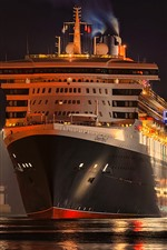 Night, cruise, front view, dock