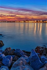 Night, sea, lights, rocks, city, Spain