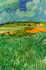 Preview iPhone wallpaper Oil painting, fields, countryside, Vincent van Gogh