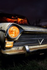 Old car, night, front view, headlight