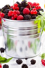 Preview iPhone wallpaper One bucket of berries, blackberries, raspberries