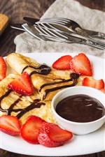 Pancakes, coffee, strawberry, breakfast
