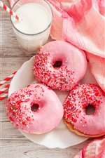 Pink donut, milk, food, breakfast