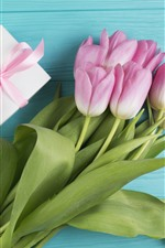 Pink tulips and gift