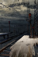 Railroad, station, night, art picture