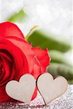 iPhone обои Красная роза, любовь сердца, туманно, романтично