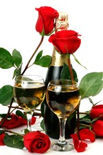 Red roses, champagne, white background