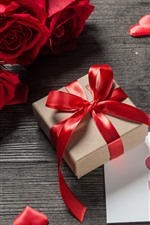 Preview iPhone wallpaper Red roses, gift, love hearts, romantic