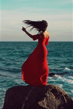 Preview iPhone wallpaper Red skirt girl back view, sea, wind