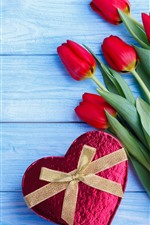 Preview iPhone wallpaper Red tulips, love heart gift, blue wood board