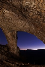 Preview iPhone wallpaper Rock arch, night