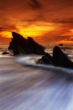Rocks, water stream, sea, red sky, sunset