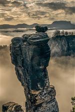 Saxon Switzerland, Elbe Sandstone Mountains, fog, morning, clouds