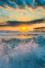 Preview iPhone wallpaper Sea, coast, waves, foam, pier, sunset, clouds