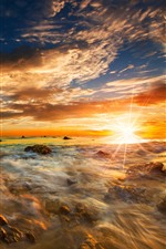Sea, rocks, sun rays, sunrise, dawn, sky, clouds