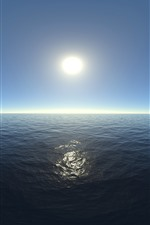 Sea, water, horizon, sun, glare