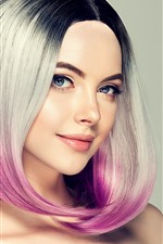 Smile fashion girl, hairstyle, colors