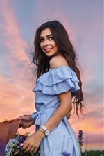 Smile girl, long hair, skirt, hat, summer, flowers
