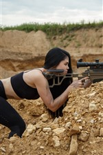 Sniper, weapon, rifle, girl, pose