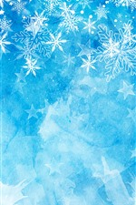 Preview iPhone wallpaper Snowflakes, blue background, Christmas theme