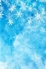 Flocos de neve, fundo azul, tema de Natal
