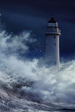 Vorschau des iPhone Hintergrundbilder Sturm, Meer, Wasserspritzer, Leuchtturm