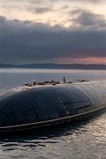 Submarine, sea, clouds, moon