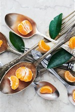 Preview iPhone wallpaper Tangerines, spoon, fork, leaves