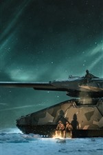 Preview iPhone wallpaper Tank, soldier, snowy, north light, night