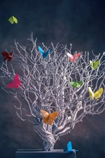 Tree, colorful butterfly, creative picture