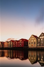 Preview iPhone wallpaper Trondheim, Norway, houses, river, dusk