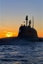 Weapon, submarine, sea, waves, sunset