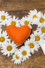 Vorschau des iPhone Hintergrundbilder Weiße Kamille, orangefarbenes Liebesherz