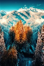 Winter, trees, snow, mountains, art style