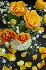 Yellow roses, petals, white little flowers, bouquet