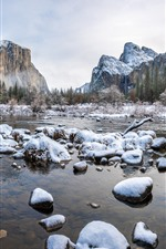 미리보기 iPhone 배경 화면 요세미티 국립 공원 겨울, 눈, 바위, 산, 나무