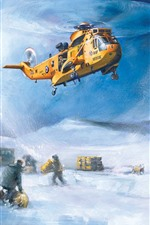 Preview iPhone wallpaper Art painting, helicopter, rescuers, sheep, snow, winter