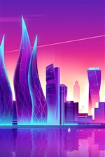 Preview iPhone wallpaper Art vector picture, city, purple style, skyscrapers, Dubai