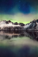 Preview iPhone wallpaper Beautiful Northern lights, mountain, sea, stars, sky, night, Iceland
