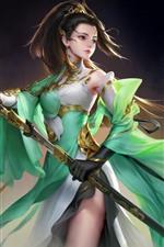 Beautiful fantasy girl, green skirt, sword