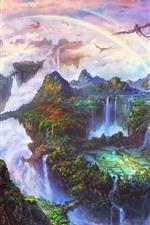Belo mundo de fantasia, arco-íris, dragão, montanhas, cachoeira