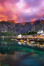Preview iPhone wallpaper Beautiful fjord, village, Norway, lake, clouds, morning