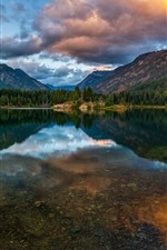 Preview iPhone wallpaper Beautiful nature landscape, mountains, lake, water reflection, clouds