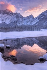 Beautiful winter nature landscape, snow, lake, mountains, dusk