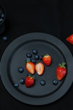 Preview iPhone wallpaper Black plate, strawberry, blueberry, fork, knife