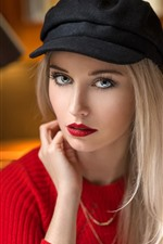 Preview iPhone wallpaper Blonde girl, hat, red sweater