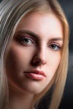 Preview iPhone wallpaper Blonde girl, long hair, face