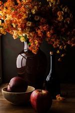 Preview iPhone wallpaper Bouquet, flowers, vase, bottle, window