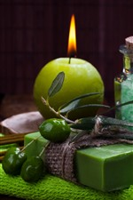 Preview iPhone wallpaper Candle, flame, green soap, olives